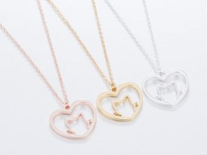 Cadena Corazón Gato tres tonos