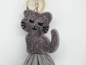 Llavero piedras gato gris