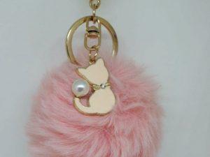 Llavero peluche gato rosa
