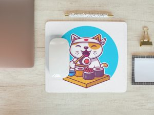 Mouse pad sushi cat